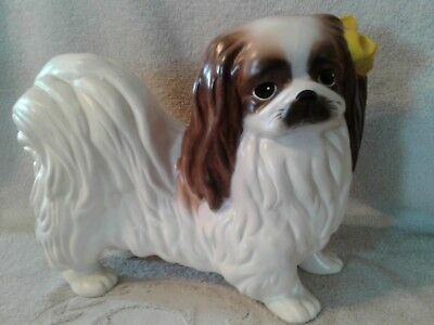 Large Ceramic Pekingese Figurine 10 inches Tall by 14 inches long