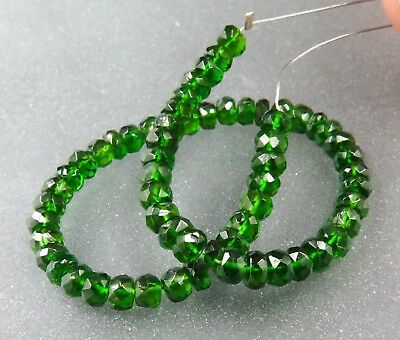 63 AAAAA GREEN RARE GENUINE RUSSIAN CHROME DIOPSIDE FACETED BEADS 25.55cts