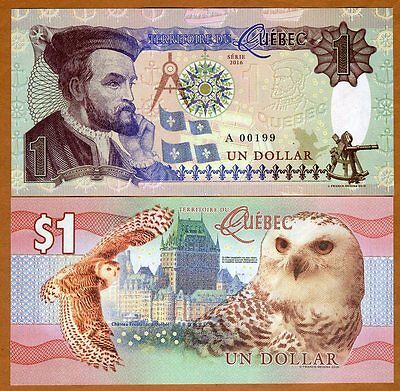 Quebec, Canada, $1, 2016, Private Issue, Essay UNC > Snow Owl, Jacques Cartier