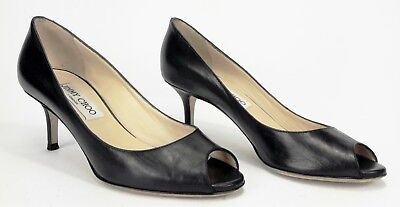 4b3a3e1ce JIMMY CHOO 'ISABEL' Sz 35 Black Leather Peep Toe Pumps - $55.00 ...