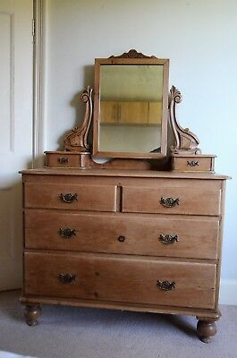Antique Solid Pine Dressing Table. Genuine Victorian