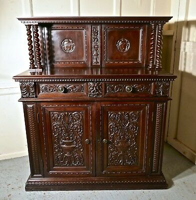 Green Man Gothic Carved Oak Dresser by Edwards and Roberts