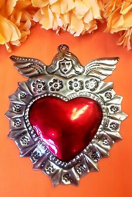 Authentic Mexican Tin Folk Art Repoussed Heart &,Guardian Angel Milagro