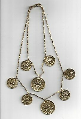 1970s Iran QAJAR Gold plated NECKLACE COIN 60gm, PERSIA, PERSIAN, 31cm. GOLDETTE