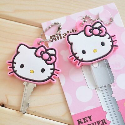 1PC Cute Hello Kitty Key Cap Cover Silicone Keychain Case Keyring Pink