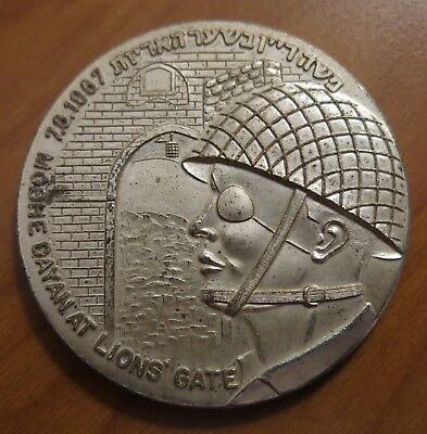 1967 Moshe Dayan @ Lions Gate Silver Plate Table Medal Elisha Israel DETAILED