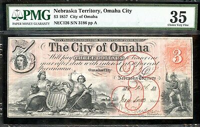 1857 PMG 35 Choice Very Fine U.S. $1 Note Nebraska Territory, Omaha City FB102