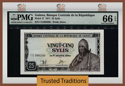 Tt Pk 17 1971 Guinea 25 Sylis Pmg 66 Epq Gem Uncirculated Population Of Two!