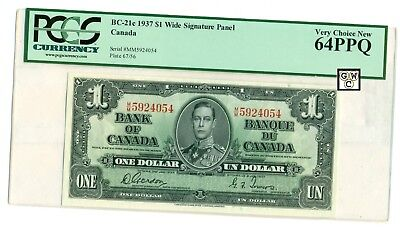 Canada BC-21c 1937 $1 Bank of Canada Banknote(M/M5924054),Very Choice New 64PPQ