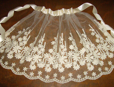 SMALL CHILD'S Handmade Vintage Embroidered Lace Apron