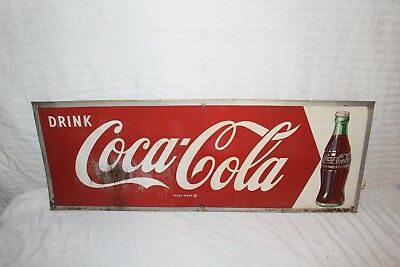"Vintage c.1950 Coca Cola Soda Pop Bottle Gas Oil 32"" Metal Sign"