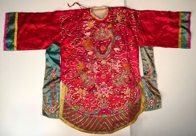 Antique Chinese Hand Embroidered Silk Red Robe. Dragon Flower Metal Studs RARE