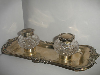 Antique English sterling silver double inkwell George Jackson & David Fullerton