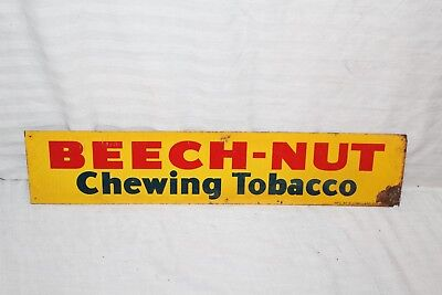 "Vintage 1940's Beech-Nut Chewing Tobacco Gas Oil 16"" Metal Sign"
