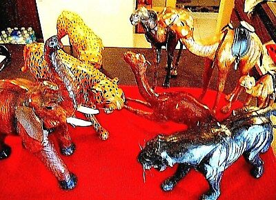 Leather Wrapped Large Assorted Animals Lot Of (7)