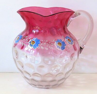 EXCELLENT Large Cranberry to clear Glass Pitcher Hand painted flowers