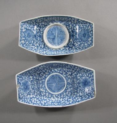 2 Signed Antique Chinese Blue & White Porcelain Ingot Shaped Dishes, Cup Stands