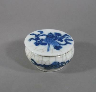 Nice Antique Signed Chinese Blue & White Porcelain Seal Paste Box, 19THC