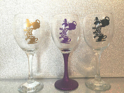 Alice in wonderland all mad here theme glitter vinyl wine glass personalised