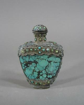 Nice Antique Chinese, Tibetan Or Mongolian Turquoise & Metal Snuff Bottle