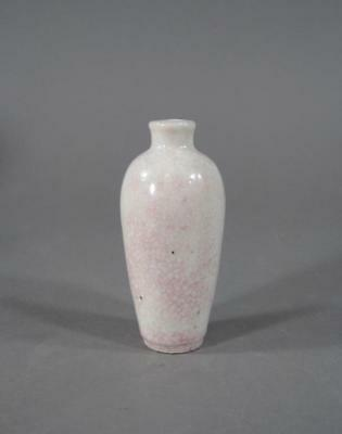 Nice Antique Chinese Snuff Bottle, Crackle Glaze With Slight Peach Bloom Blush