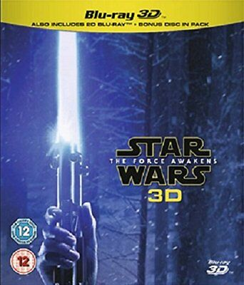 STAR WARS THE FORCE AWAKENS Blu-ray 3D + 2D Blu- Ray Region Free No Slip Cover.