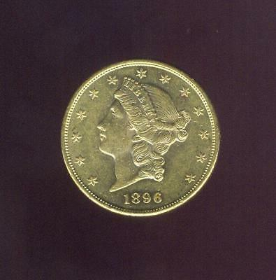 "1896-S Uncirculated $20.00 Gold Liberty ""Double Eagle"", Free USA Shipping"