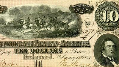 HGR FRIDAY 1864 $10 Confederate ((Battle Scene)) Appears CHOICE UNCIRCULATED
