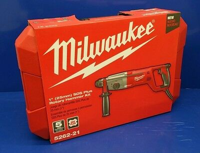Milwaukee 1 inch SDS Plus D Handle Rotary Hammer Drill 8 AMP Corded New 5262-21