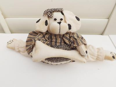 Adorable Country Rustic Rag Doll Dog Cotton  14Cm Tall Gift New