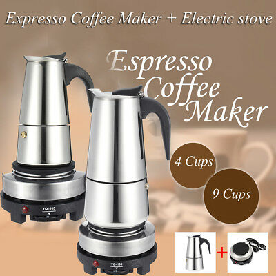 4 9 Cup Espresso Moka Coffee Maker Pot Percolator Stainless Steel Electric Stove