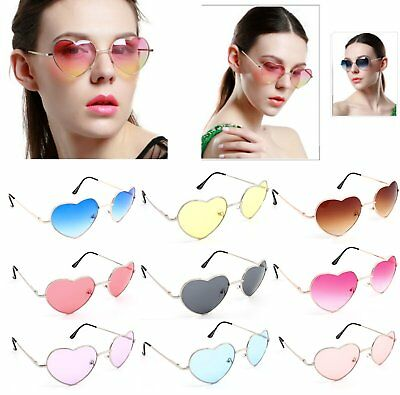 Women Ladies Love Heart Shape UV400 Lens Stylish Eyewear Metal Frame Sunglasses