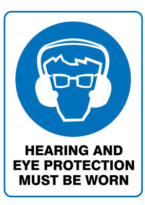 Poly Prop Mandatory Safety Sign 300 x 225mm  Hearing and Eye Protection