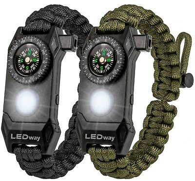 LEDway Paracord Bracelet Tactical Survival Gear Kit 6-IN-1 Compass LED SOS
