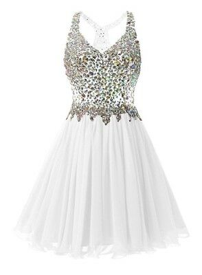 Prom/Formal Dress, Short White Chiffon With Bling Bodice,New,L, sells for $89.99