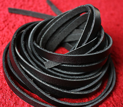 200 cm long 4,5,6,7,8,9,10 mm BLACK LEATHER STRIP FLAT CORD LACE 2.5 mm thick