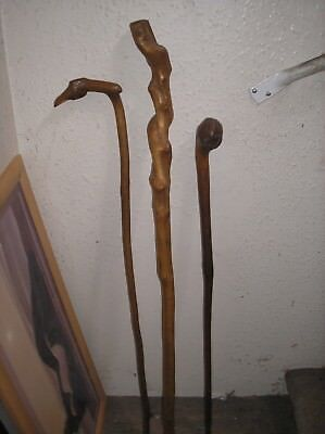 Three Old Vintage Rustic Country  Walking Sticks Bird