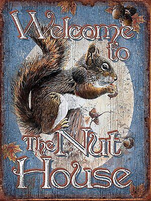 WELCOME TO THE NUT HOUSE Retro metal Aluminium Sign Vintage bus shed Man Cave