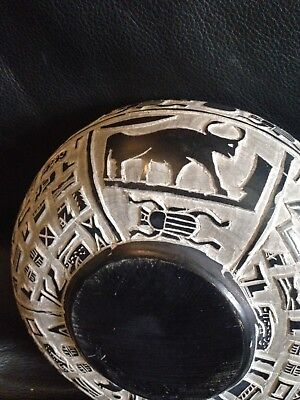 Antique Egyptian Carved Stone Bowl With Hieroglyphics