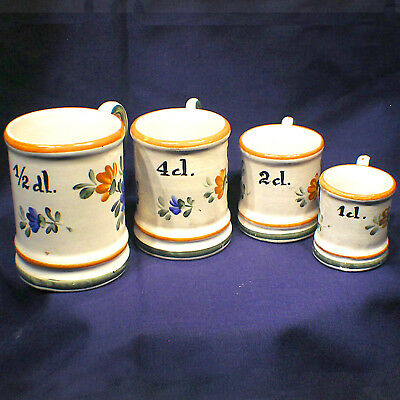 4x Pichets De Mesure Chope en Faience Signée Series Mini Measuring Cups