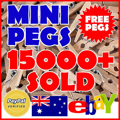 25mm MINI PEGS 100/50/25 Small Wood Craft Hang Photos Baby Shower Wedding Wooden