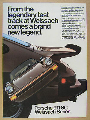 1980 Porsche 911 SC 911SC Weissach Edition brown car photo vintage print Ad