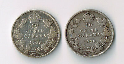 Lot Of Two 1909 Canada Silver 10 Cent Dimes Broad Leaves & Victorian Leaves Var