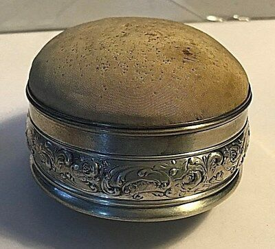 Antique Gorham Sterling Silver Box with Pin Cushion Sewing # 376