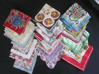 LOT OF 20 Vintage Hankies, All FLORAL