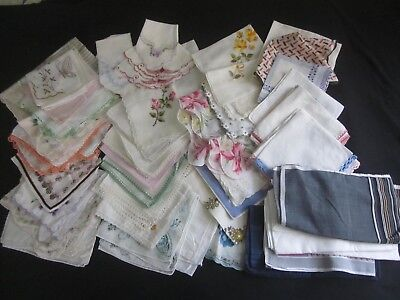 Large Lot (Over 50) Vintage Hankies, Florals, Crocheted, Men's