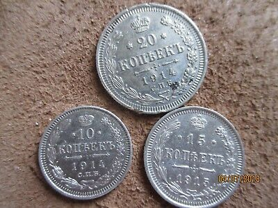 Lot of 3 silver coins. Russia ,Russian Empire,10,15,20 kopeks 1914-15