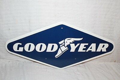 "Vintage 1972 Goodyear Tires Tire Gas Station Oil 28"" Metal Sign~Nice"