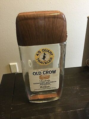 Old Crow Traveler Bottle EMPTY with Buckle Strap Kentucky Bourbon Whiskey