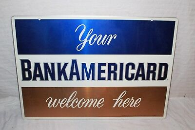 "Vintage 1967 Bankamericard Credit Card Gas Station 2 Sided 26"" Metal Sign"